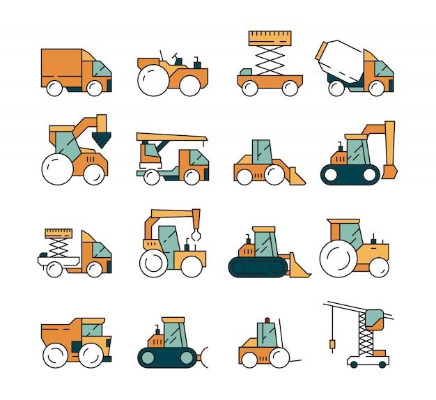 Bouw transport. het asfaltweg van de zware machinevrachtwagen op machines voor bouwers die het voertuig van kraan bulldozer tractoren opheffen