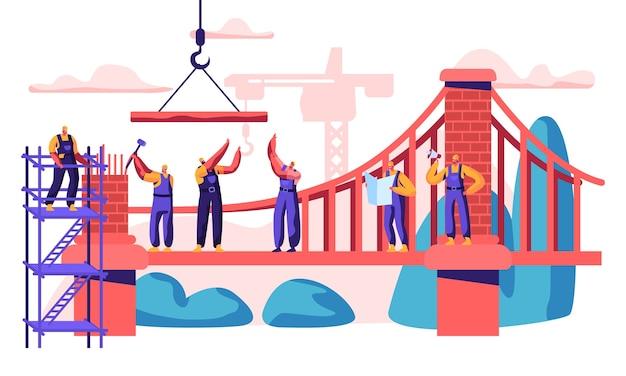 Bouw tuibrug. professioneel personage bouw nieuwe verbinding van twee shore. analyseer plan en plaats, leg baksteen en bevestigingskabel. platte cartoon vectorillustratie