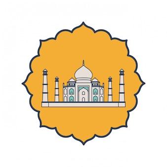 Bouw van majestueuze en indische de onafhankelijkheidsdag van taj