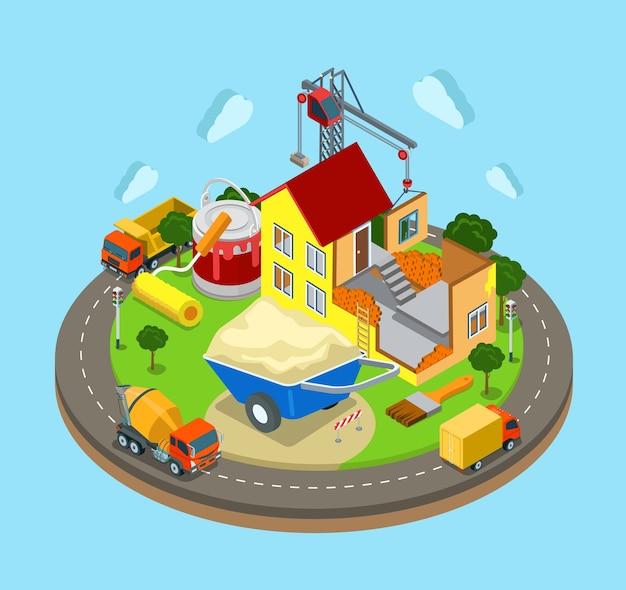 Bouw website afbeelding van bouwmachines weg huis kraan hemel en wolken op de achtergrond
