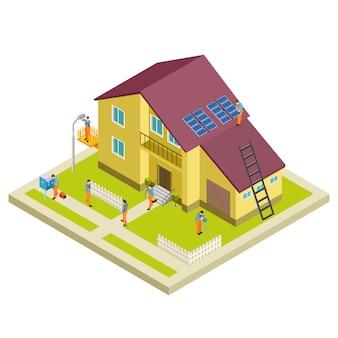 Bouw, wederopbouw en reparatie landelijk huis isometrisch concept