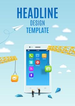 Bouw witte smartphone, software en mobiele applicatie-ontwikkeling. sjabloonontwerp omslagboek, flyer, poster