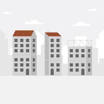Bouwachtergrond met het onvolledige gebouw