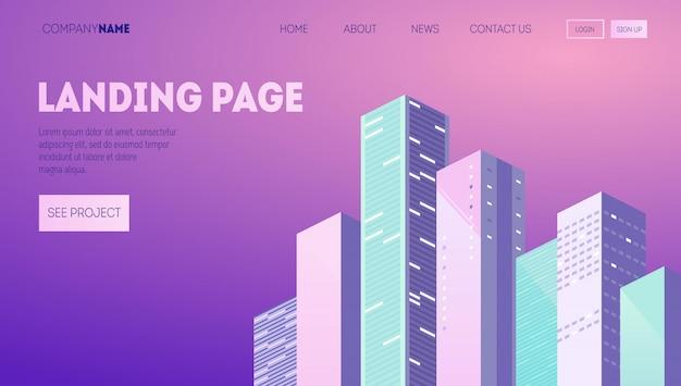 Bouwbedrijf webpagina sjabloon. landingspagina voor een website over onroerend goed