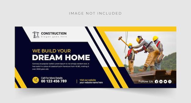 Bouwbureau we bouwen uw droomhuis banner facebook-omslagsjabloon premium vector