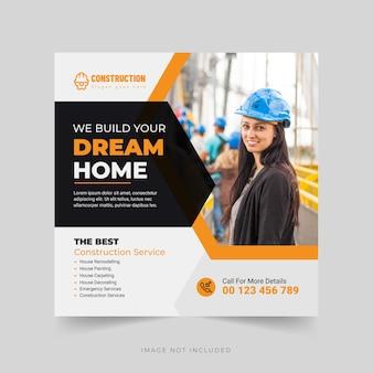 Bouwbureau we bouwen uw droomhuis banner social media post-sjabloon premium vector