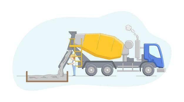 Bouwconcept. betonmixerbestuurder op het werk. werknemer controleert betonproces. vacatures voor operator van bouwmachines. mannelijk karakter op het werk. Premium Vector
