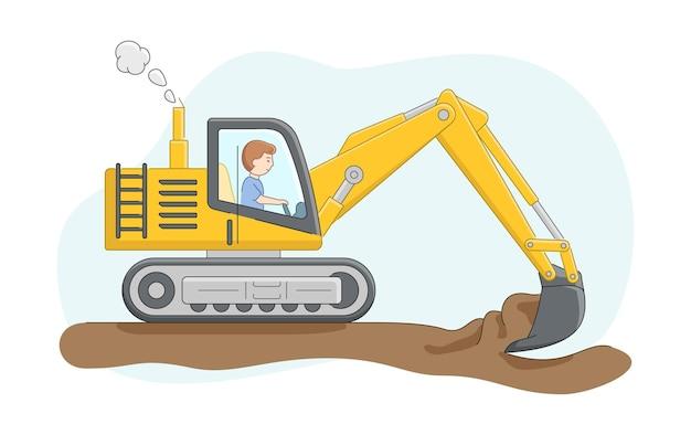 Bouwconcept. bouwvrachtwagen met bestuurder. graafmachine graaft zand of grond. vacatures voor operator van bouwmachines. karakter op het werk. Premium Vector