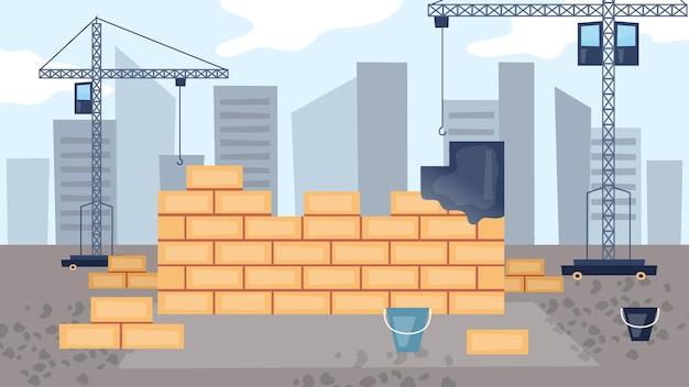 Bouwconcept. proces van de bouw van woonhuizen.