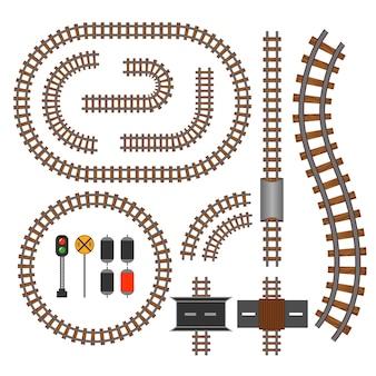 Bouwelementen van spoor- en spoorlijnen. golvende baanstructuur voor verkeerstreinillustratie Gratis Vector