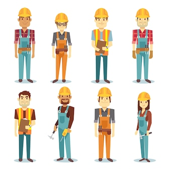 Bouwer aannemer man en vrouwelijke werknemer vector mensen tekenset. arbeider man en professional e