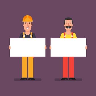 Bouwer en loodgieter houden papieren poster vast en glimlachen. vectorillustratie.