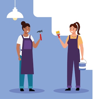 Bouwer en schilder constructeur