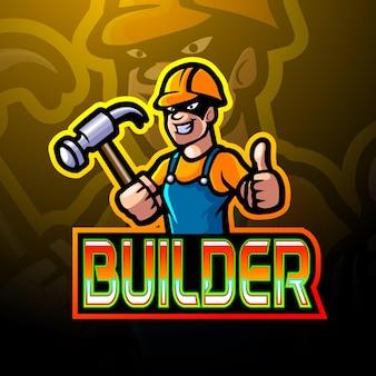 Bouwer esport logo mascotte ontwerp