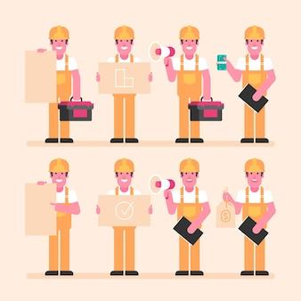 Bouwer houdt borden megafoon geld en andere objecten. karakter instelling. vectorillustratie