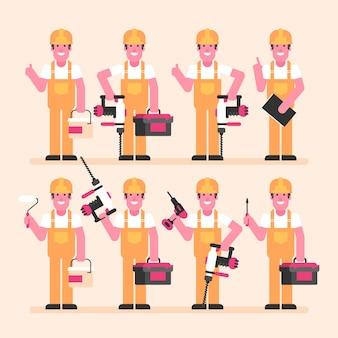 Bouwer houdt hamer boor schroevendraaier koffer en diverse objecten. karakterset. vectorillustratie