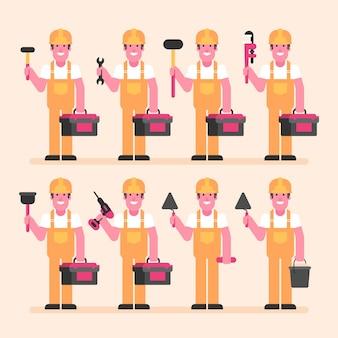 Bouwer houdt koffer en verschillende gereedschappen vast. karakterset. vectorillustratie