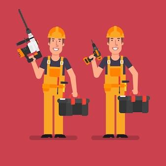 Bouwer houdt perforatorschroevendraaier en koffer met gereedschap vast. werkende mensen. vector illustratie.