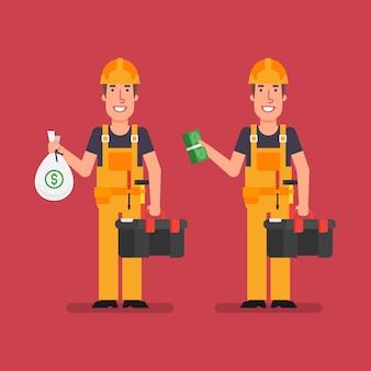 Bouwer houdt zakgeld houdt bundelgeld vast en glimlacht. vectorillustratie.