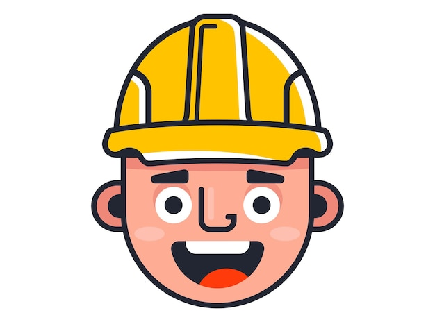 Bouwer in een gele helm. leuke karakterbouwer. platte vectorillustratie