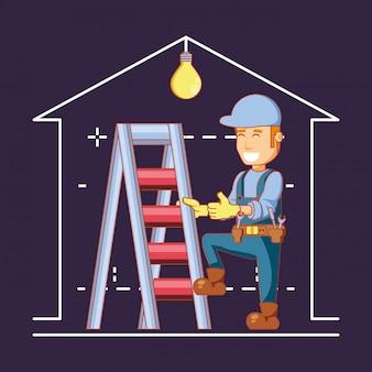 Bouwer karakter met pictogrammen voor huisreparatie