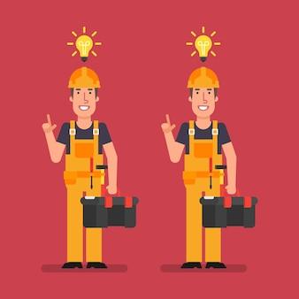 Bouwer kwam met idee met koffer en glimlachen. vectorillustratie.