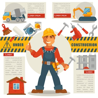 Bouwer met hamer en ondertekening in aanbouw