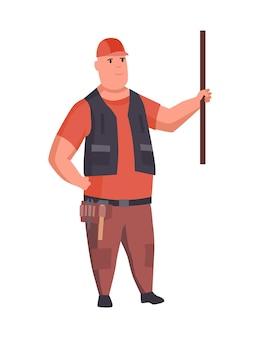 Bouwer of architect. professioneel karakter. mannelijke ingenieur of werknemer in veiligheidshelm geïsoleerd op een witte achtergrond. project presentatie