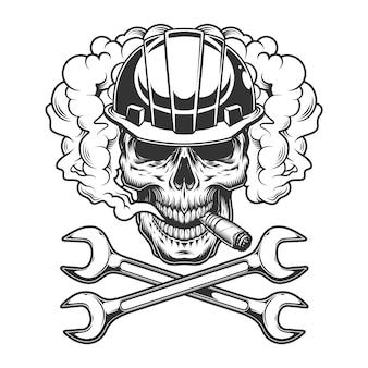 Bouwer schedel rokende sigaar