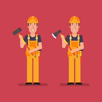 Bouwer staat en houdt grote hamer en bijl vast. werkende mensen. vector illustratie.