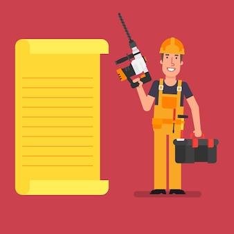 Bouwer staat in de buurt van papieren lijst met perforator en koffer met gereedschap werkende mensen