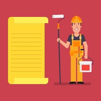 Bouwer staat in de buurt van papieren lijst met roller en verfemmer. werkende mensen. vector illustratie.