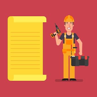 Bouwer staat in de buurt van papieren lijst met schroevendraaier en koffer met gereedschap werkende mensen