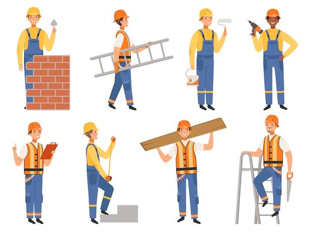 Bouwer stripfiguur, grappige mascottes van ingenieur of constructeur in verschillende actie vormen mensen