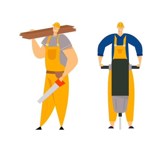 Bouwer tekens in werkkleding. bouwingenieurs met hulpmiddelen voor bouwmaterieel. timmerman reparateur, schilder, bouwers.