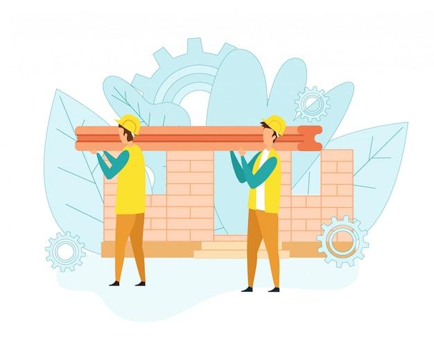 Bouwers dragen zware ijzeren balk voor het bouwen van een huis