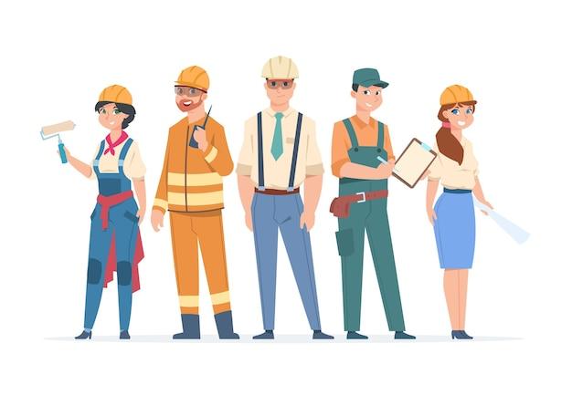 Bouwers en ingenieurs karakters illustratie Premium Vector