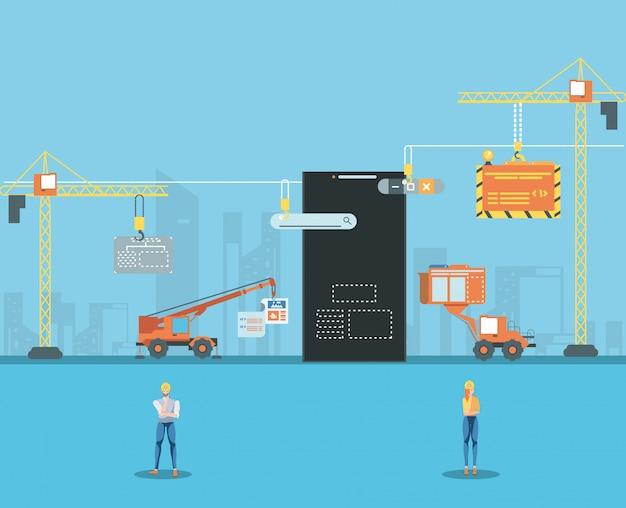 Bouwers en smartphone met webpagina in aanbouw