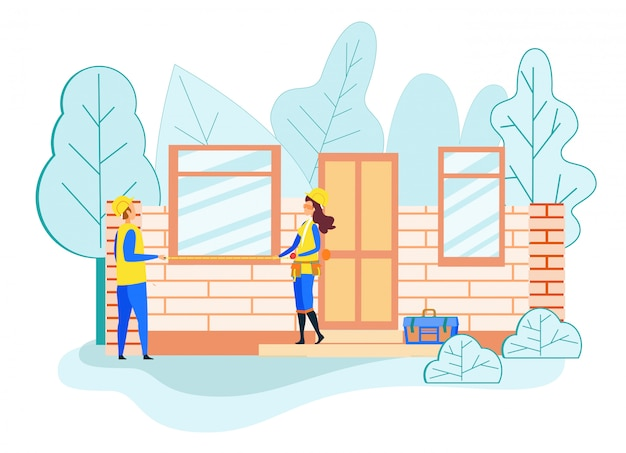 Bouwers houden tape meten venster grootte huis