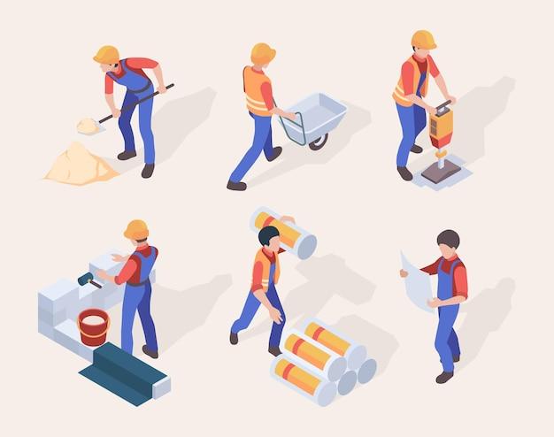 Bouwers in uniforme verschillende bouwmachines en gereedschappen die mensen instellen.