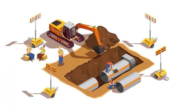 Bouwers met bouwvoertuig en verlichtingsapparatuur
