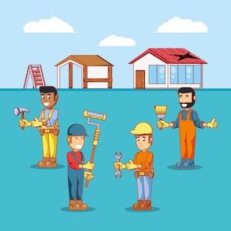 Bouwers personages met pictogrammen voor huisreparatie