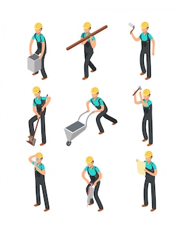 Bouwersarbeiders, bouwprofessionals geïsoleerde 3d geplaatste mensen