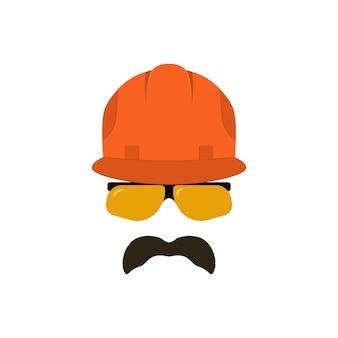 Bouwersgezicht met bril in een bouwhelm