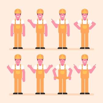 Bouwerspunten en shows. karakterset. vectorillustratie
