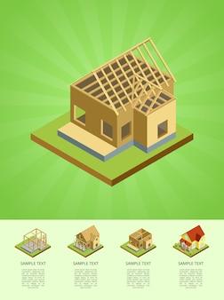 Bouwfasen van platteland huis infographic