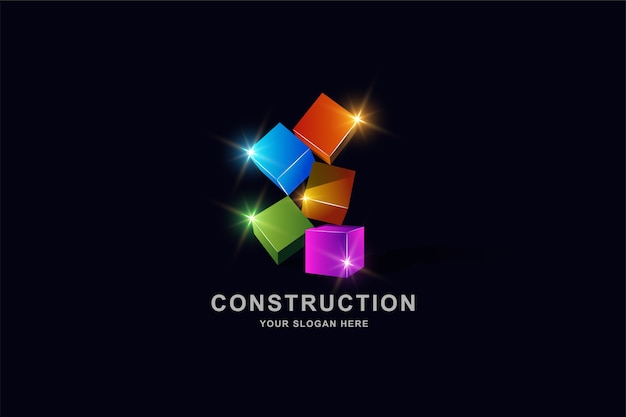 Bouwgebouwen of 3d-doos vierkante logo ontwerpsjabloon