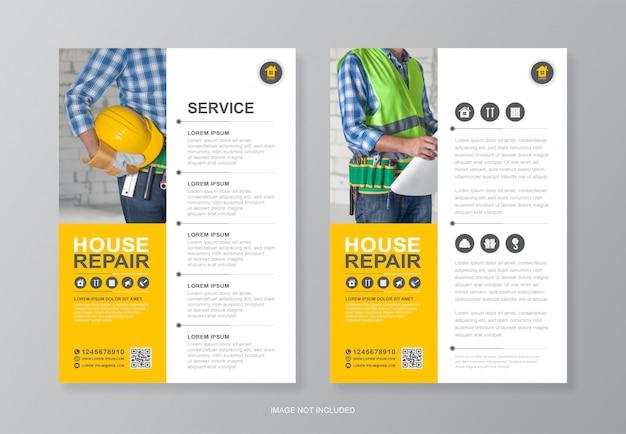 Bouwgereedschap cover en achterpagina a4 flyer ontwerpsjabloon