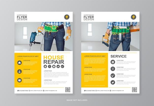 Bouwgereedschap dekking, achterpagina flyer ontwerpsjabloon