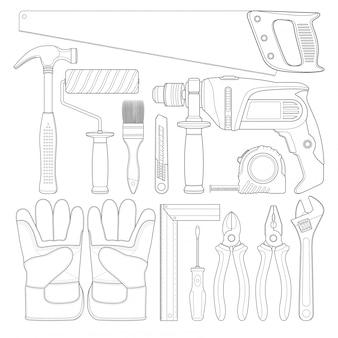 Bouwgereedschap lineaire set alle gereedschappen benodigdheden